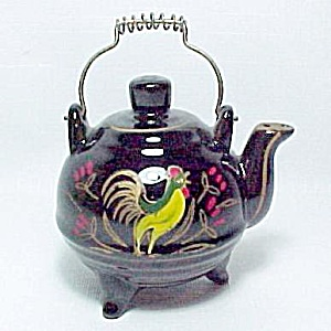 Chanticleer Rooster Tea Kettle Salt Shaker Vintage