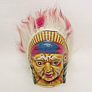 Indian Chief Fuzzy Headdress Salt Pepper Shaker Vintage