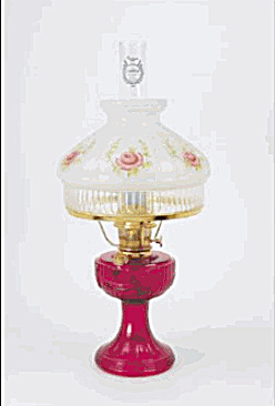 Aladdin Red Lincoln Drape Kerosene Oil Lamp Rose Shade (Image1)