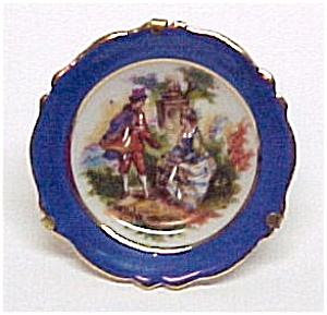 Miniature Limoges Plate In Stand France Shadow Box Mini