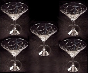 Cut Lead Crystal Glass Cocktail Stem Dot Drape Vintage (Image1)