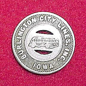 Vintage Burlington IA Iowa City Lines Bus Token 1 Fare (Image1)