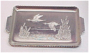 Set Of 3 Aluminum Snack Trays Flying Ducks Cattails
