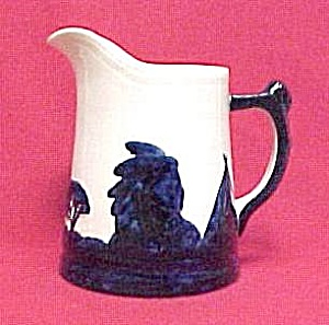 Old Sleepy Eye White & Cobalt Blue 6 inch #3 Pitcher (Image1)