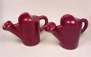 Camark Art Pottery Watering Can Salt Pepper Shakers Vintage