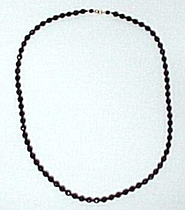 Jet Black Faceted Glass Bead 30 inch Necklace Czech ? (Image1)