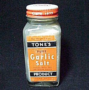 Tones Garlic Salt Spice Jar Bottle Vintage Advertising (Image1)