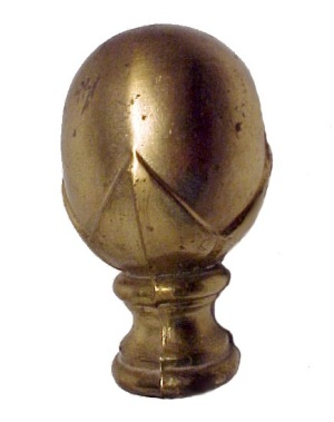 "Brass Plated Lamp Finial Large 3 1/2"" X 2"" Vintage"