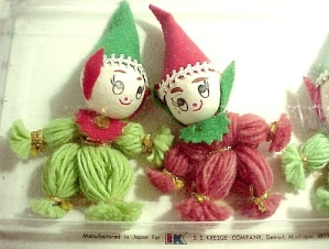 3 Vintage Wrapped Spun Cotton Yarn Doll Elf Christmas Package Stickers (Image1)