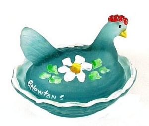Blue Satin Glass Hen on Nest Chick Salt Dip Cellar Cobaline Flowers (Image1)
