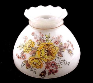 Floral Student Lamp Shade 8 in Milk Glass Orange Roses Yellow Vintage (Image1)