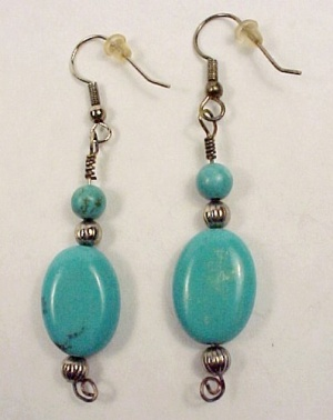 Turquoise 14mm X 18mm Dangle Earrings Hand Crafted Silver Plated Hooks (Image1)