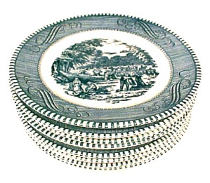 9 Currier & Ives Bread Butter Plates 6 3/8 in Royal China (Image1)