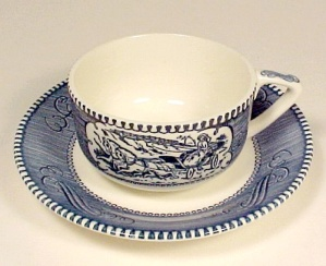 Currier & Ives Cup and Saucer Scroll Handle Royal China (Image1)