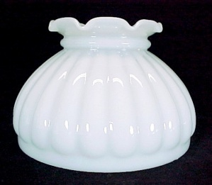 Melon Milk Glass Student 6 in Kerosene Oil Lamp Shade White Light New (Image1)