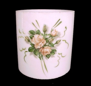 Cylinder 4 in Tube Milk Glass Light Shade  Pink Roses Candle Holder  (Image1)
