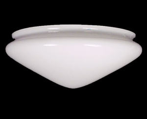 Art Deco Ceiling Fan Light Shade White Pan 9 3/8 In Fittr X 4 H X 10 W