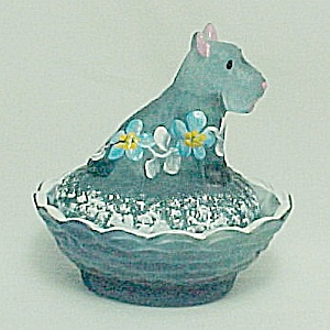 Blue Green Satin Glass Scottie Dog Salt Dip Cellar Hand Painted Floral (Image1)