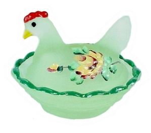 Hen On Nest Glass Chick Salt Dip Cellar Green Limelight Satin