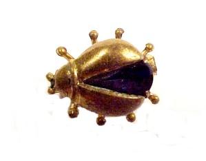 Western Germany Beetle Bug Pin Brooch Sapphire Vintage (Image1)