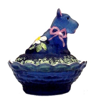 Cobaline Satin Glass Scottie Dog Salt Dip Cellar Hand Painted Floral  (Image1)