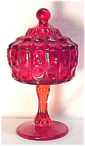 Priscilla Ruby Red Covered Candy Jar Dish Lg Wright