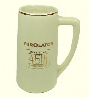Purolator Advertising Stein Mug 1968 Mccoy 45th Anniversary