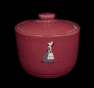 Monmouth or Zanesville Pottery Maroon Covered Jar (Image1)