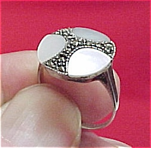 Sterling Marcasite & Mother Of Pearl Mop Ring Size 9