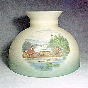 Fishing Hunting Deer 10 in Student Lamp Shade Milk Glass Kerosene Oil (Image1)