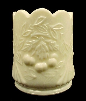 Pale Yellow Milk Glass Wreathed Cherry Toothpick Holder