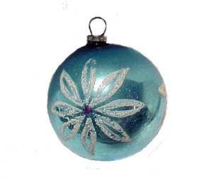 WWII War Era Japan Christmas Tree Ornament Hand Painted Floral (Image1)