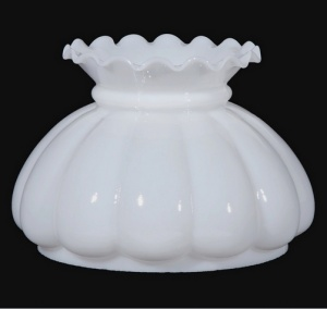 White Milk Glass 7 in Student Kerosene Oil Lamp Light Shade Melon (Image1)