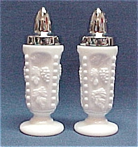 Westmoreland Beaded Grape Milk Glass S & Ps  Shakers (Image1)