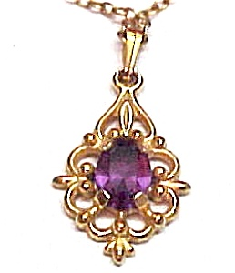 Victorian Inspired Amethyst & Goldtone Scrolled Pendant Neck (Image1)