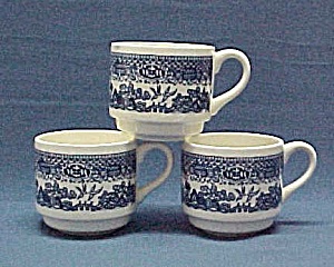 Royal China Blue Willow Stack Coffee Cup Mug Set of 3 Oriental Design (Image1)