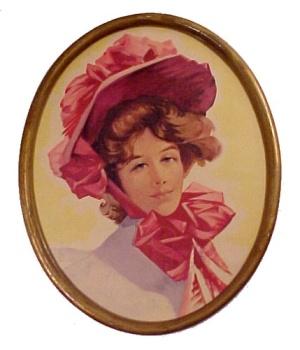 Vintage Sweet Adeline Oval Framed Calendar Art Print (Image1)
