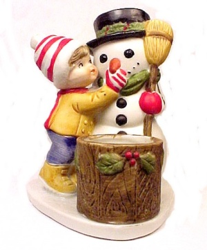 Snowman Holiday Toothpick Candle Votive Holder Vintage