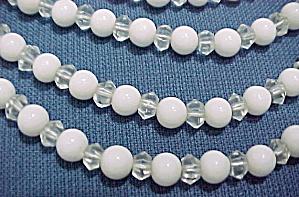 5 Strand White Glass Beaded Choker Necklace Vintage (Image1)