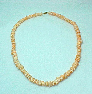 Mother Of Pearl Necklace Mop Oyster Shell 23 Inch Strand Peach Coral