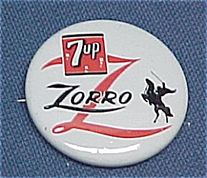 7 Seven Up Zorro 1957 Walt Disney Pin Pinback Badge (Image1)
