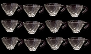 Hazel Atlas Swirl Clear Cup For Punch Bowl Snack Set