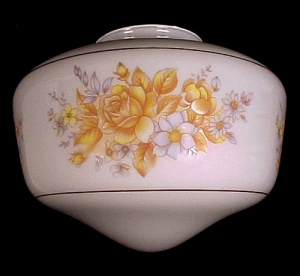 Schoolhouse Light Shade White Glass Yellow Roses Floral (Image1)