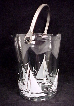 Depression Glass Sailboat Ice Bucket W/ Tongs Vintage