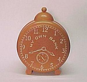 Bakelite Clock Money Coin Bank Pig Piggy Vintage Toy (Image1)