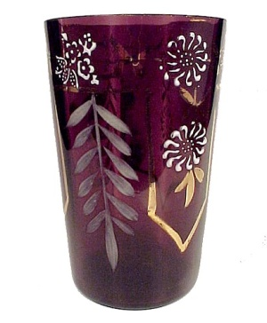 Victorian Hand Painted Enamel Drinking Glass Tumbler (Image1)