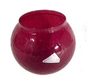 Morgantown Glass Peacock Optic Ruby Red Flower Bowl Tag (Image1)