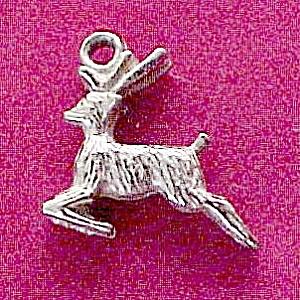 Leaping Deer Sterling Silver Bracelet Charm Vintage (Image1)