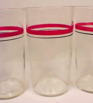 Red Black Rings Peanut Butter Tumbler Glass Hocking