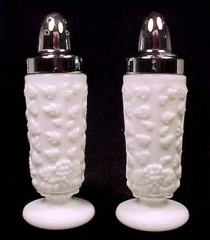 Westmoreland Milk Glass Paneled Grape Salt And Pepper